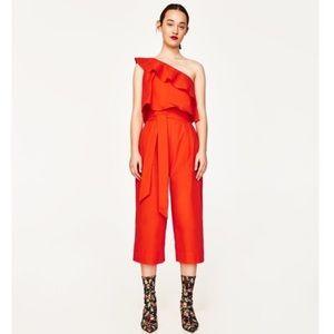 Zara One Shoulder Frill Cropped Jumpsuit